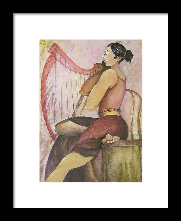 Painting Depicts A Gorgeous Woman Seated At Her Harp. Hues Of Pinks Framed Print featuring the painting Music Woman by Georgia Annwell