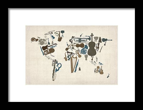 World Map Framed Print featuring the digital art Musical Instruments Map of the World Map by Michael Tompsett