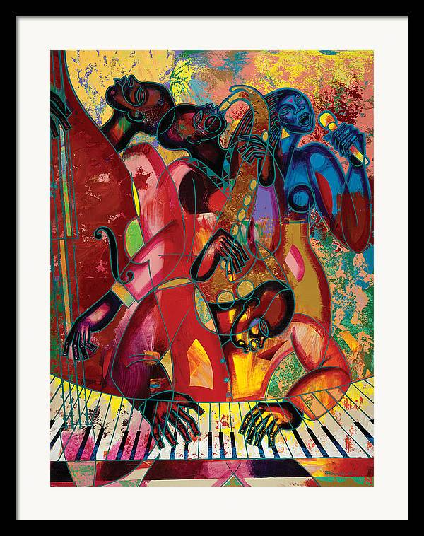 Figurative Framed Print featuring the painting Musicfest by Larry Poncho Brown