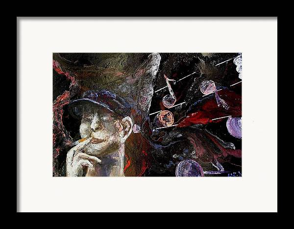 Framed Print featuring the painting Musician by Evguenia Men