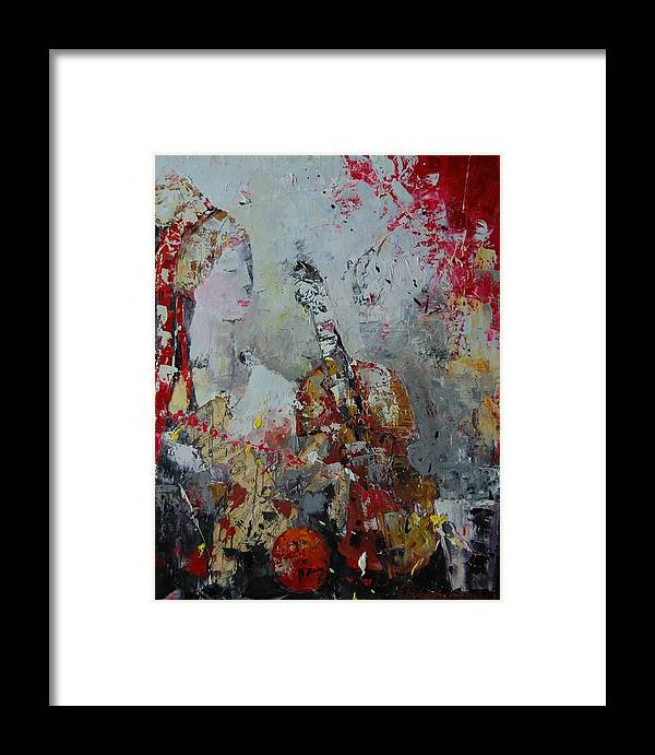 Figurative Framed Print featuring the painting Musicians Break by Sari Haapaniemi