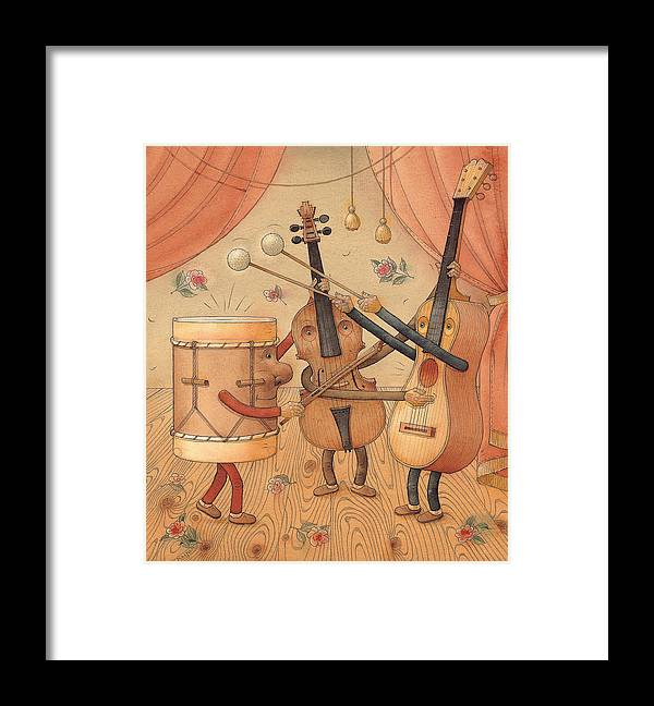 Music Instruments Guitar Violin Drums Concert Framed Print featuring the painting Musicians by Kestutis Kasparavicius