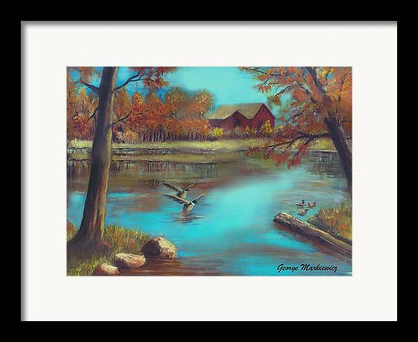 Lake Landscape Framed Print featuring the print Muskego Lake by George Markiewicz
