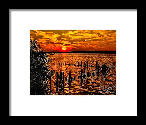 Lake Framed Print featuring the photograph Muskegon Sunset by Nick Zelinsky