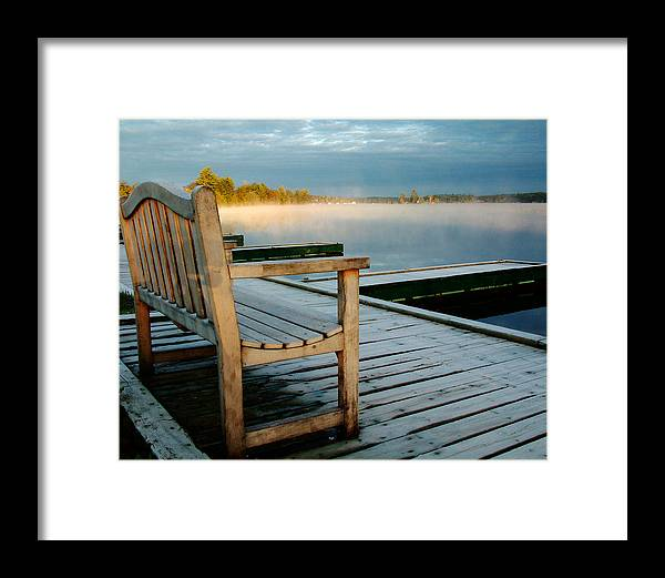 Sunrises Framed Print featuring the photograph Muskoka Lake At Sunrise by Linda McRae