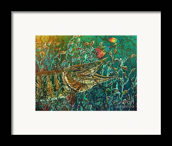 Batik Framed Print featuring the tapestry - textile Musky- Chasin by Sue Duda