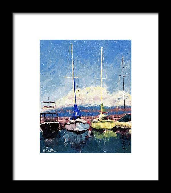Seascape Framed Print featuring the painting Must Be A Sunday by Leslie Saeta