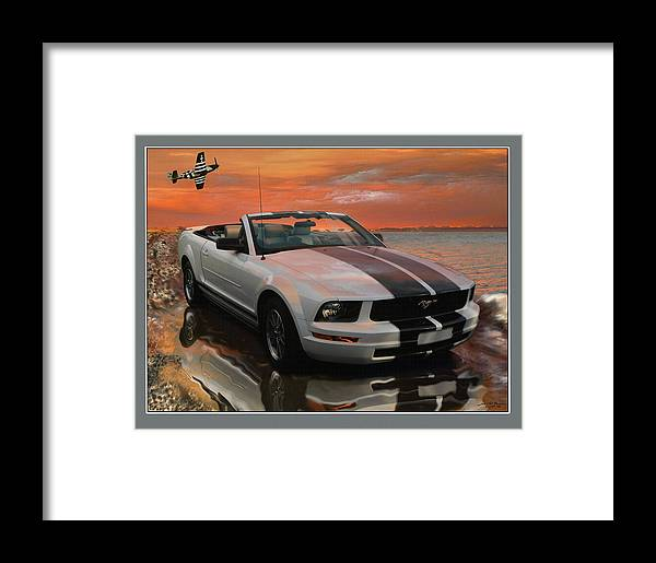 Painting Was Done For Mustang Show. This Is An Framed Print featuring the digital art Mustang And Mustang At The Beach by John Breen