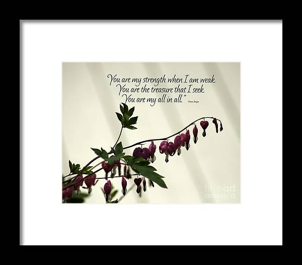 Diane Berry Framed Print featuring the photograph My All In All by Diane E Berry