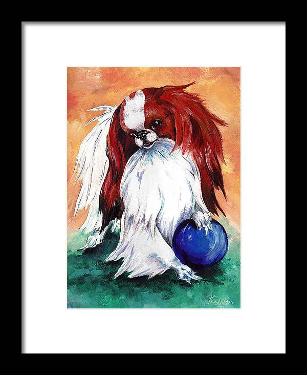 Japanese Chin Framed Print featuring the painting My Ball by Kathleen Sepulveda