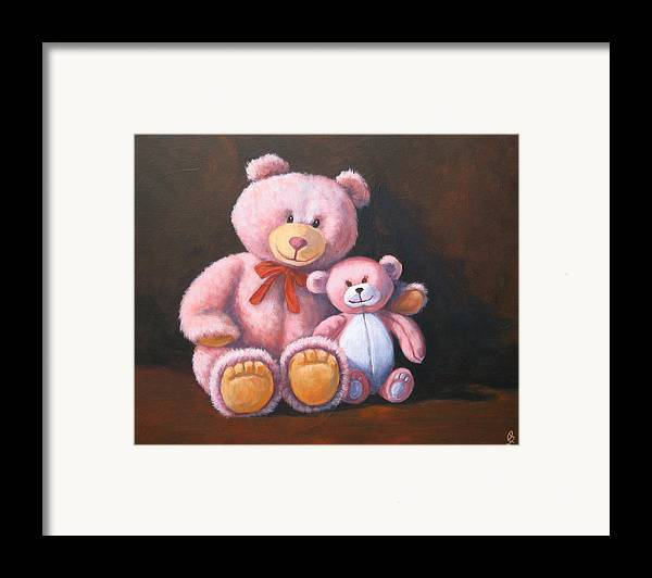 Teddy Bear Framed Print featuring the painting My Bears by Oksana Zotkina