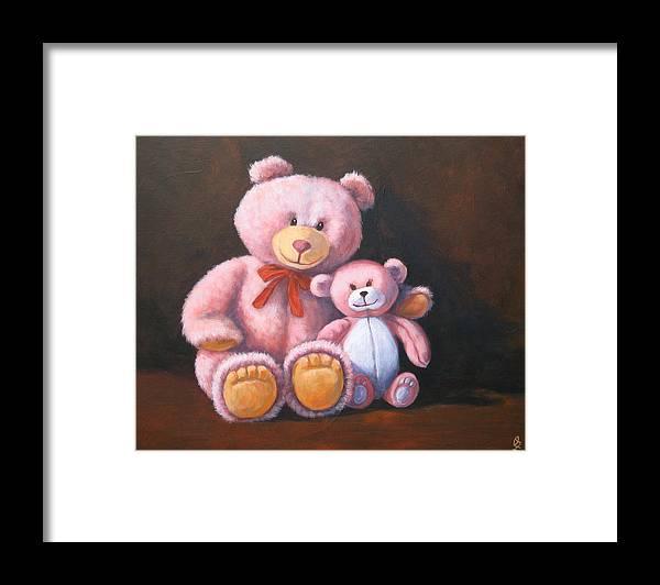 Teddy Bear Framed Print featuring the painting My Bears by Oksana Zotkina