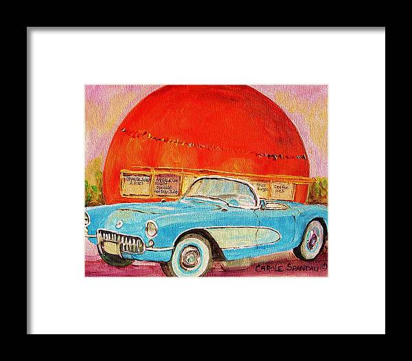 Montreal Framed Print featuring the painting My Blue Corvette At The Orange Julep by Carole Spandau