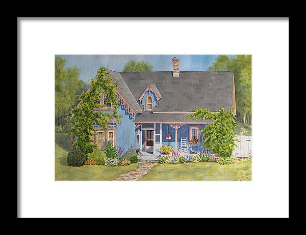 House Framed Print featuring the painting My Blue Heaven by Mary Ellen Mueller Legault