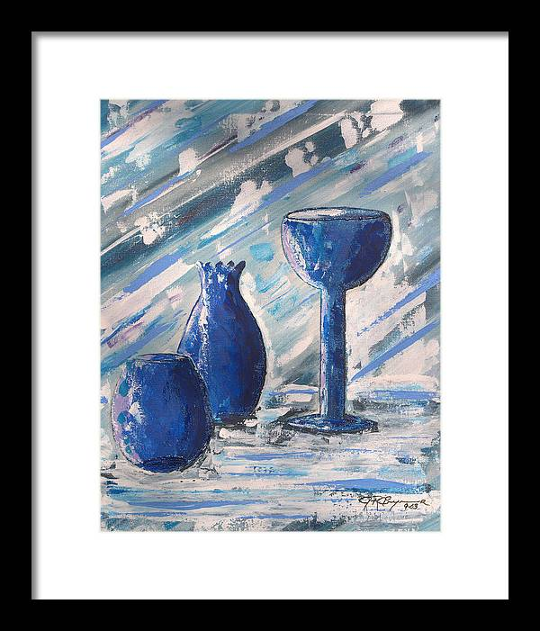 Vases Framed Print featuring the painting My Blue Vases by J R Seymour
