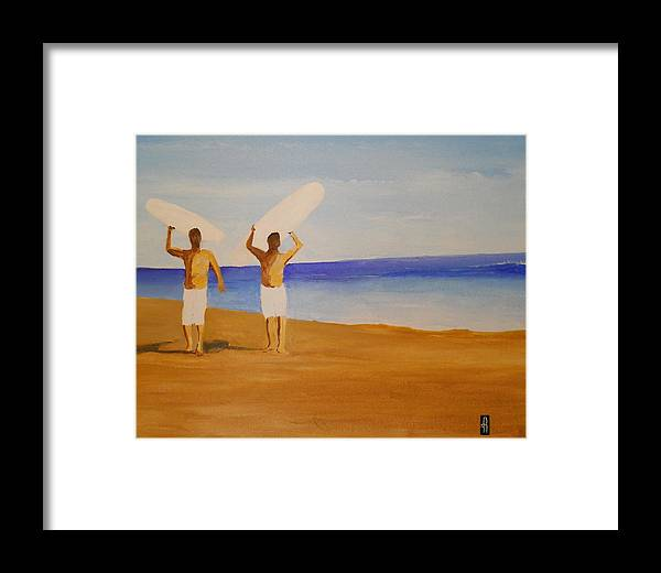 Surf Framed Print featuring the painting my brother and I by Fred Reid