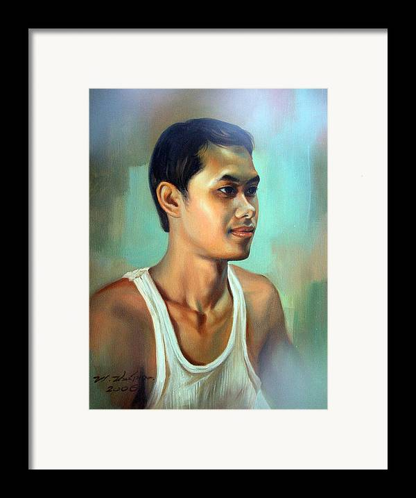 Thai Framed Print featuring the painting My Brother by Chonkhet Phanwichien
