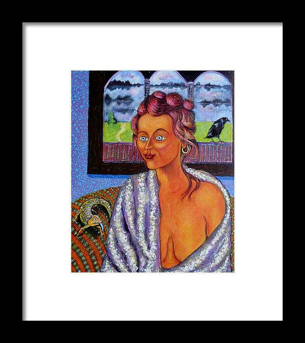 Art Framed Print featuring the painting My Candid Mona Lisa by ITI Ion Vincent Danu