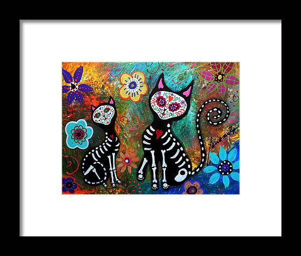Day Of The Dead Framed Print featuring the painting My Cats Dia De Los Muertos by Pristine Cartera Turkus