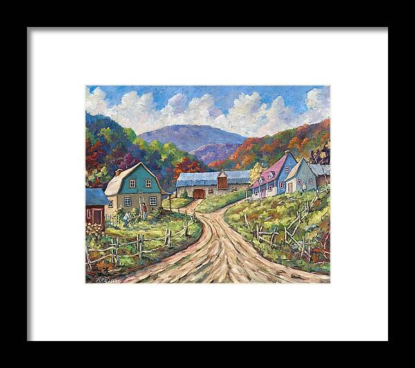 Country Framed Print featuring the painting My Country My Village by Richard T Pranke