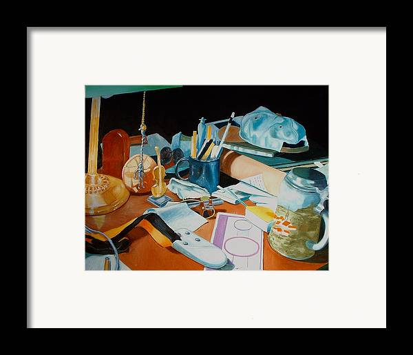 Still Life Framed Print featuring the painting My Desk by Michael Henderson
