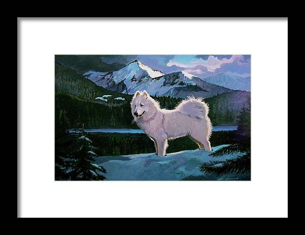 Dogs Samoyed Sled Dog Framed Print featuring the painting My Dog Blizzard . by Alan Carlson