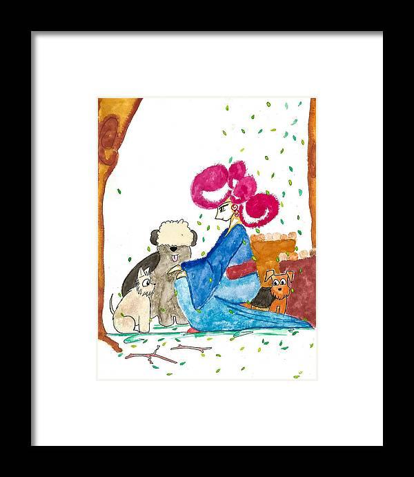 Art Framed Print featuring the painting My Dog by Earl Joseph Sinajon