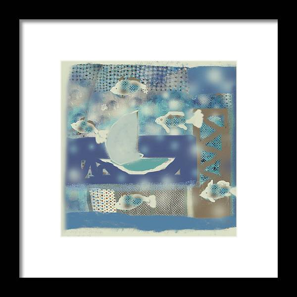 Fish Framed Print featuring the digital art My Dream's Journey by Aliza Souleyeva-Alexander