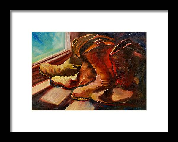 Boots Framed Print featuring the painting My Favorite Boots by Diane Whitehead
