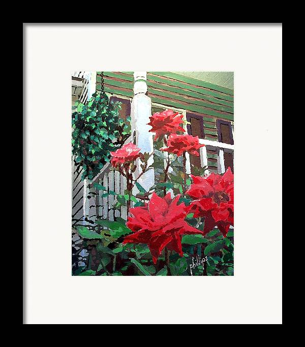 Rose Framed Print featuring the painting My Favorite Corner by Jim Phillips