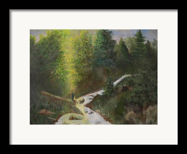 Landscape Framed Print featuring the painting My Favorite Spot by Jack Hampton