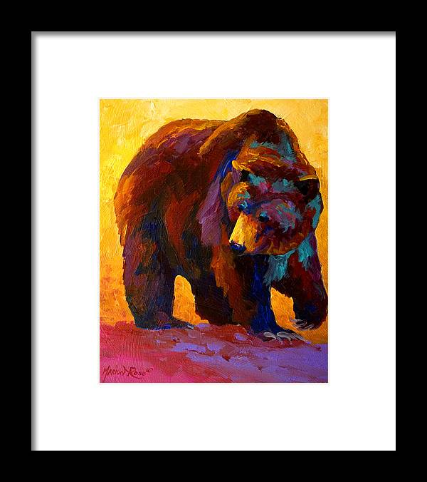 Bear Framed Print featuring the painting My Fish - Grizzly Bear by Marion Rose