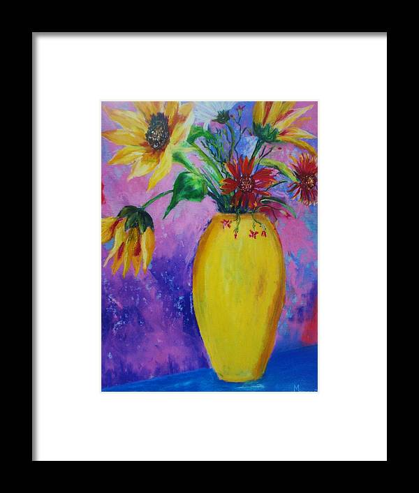 Sunflowers Framed Print featuring the painting My Flowers by Melinda Etzold