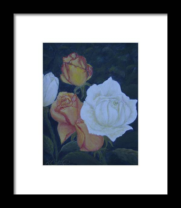 Roses Framed Print featuring the painting My Garden by KC Knight