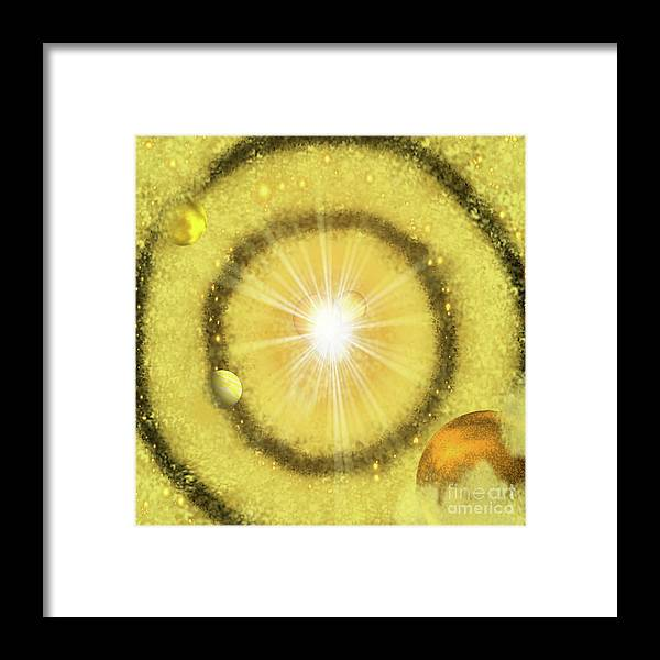 My Golden Universe Framed Print featuring the painting My Golden Universe by Methune Hively