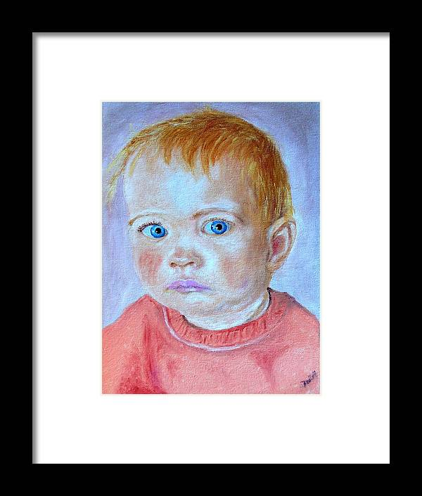 Leonie Framed Print featuring the painting My Granddaughter Leonie by Helmut Rottler
