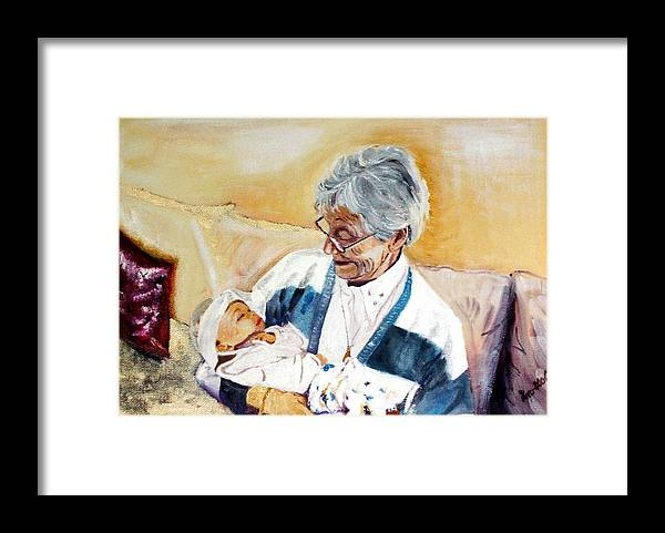 Portrait Framed Print featuring the painting my granddaughter Leonie with her great grandmum by Helmut Rottler