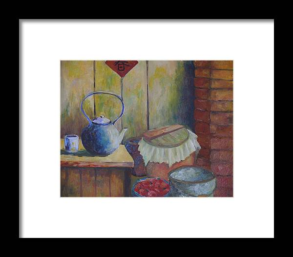 Still Life Framed Print featuring the painting My Grandma's Kitchen by Wendy Chua