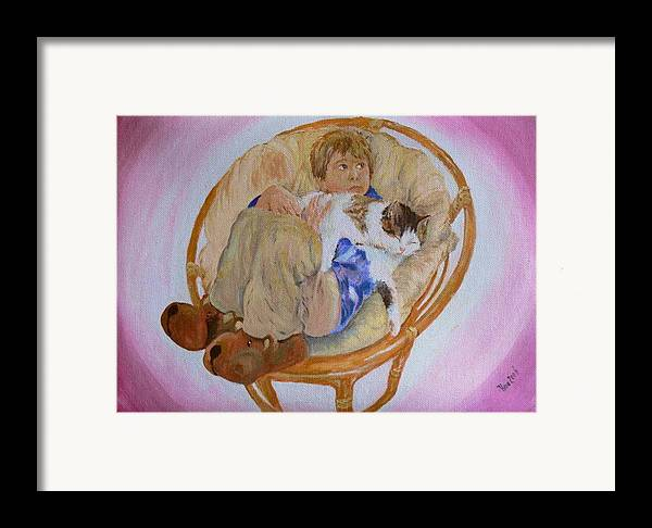 Portrait Framed Print featuring the painting my grandson Pascal with his cat Paul by Helmut Rottler