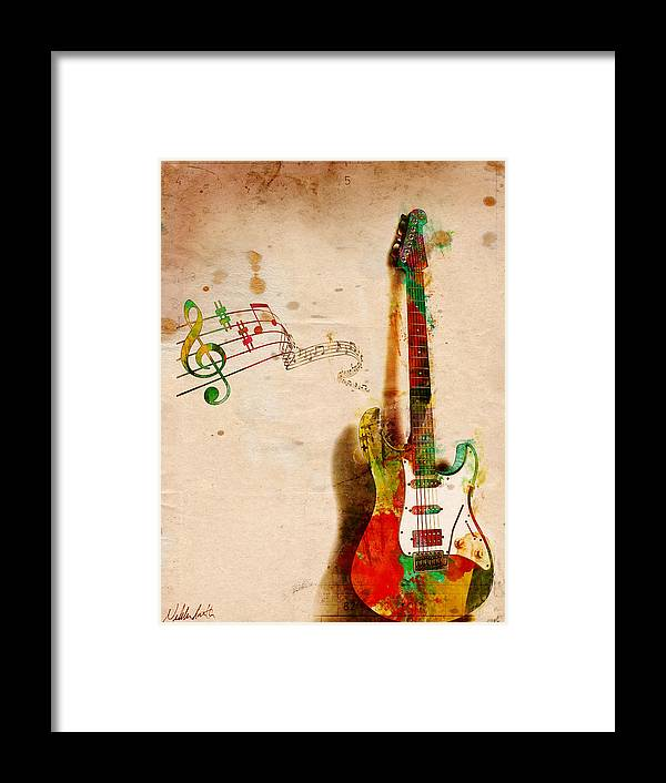 Guitar Framed Print featuring the digital art My Guitar Can SING by Nikki Smith