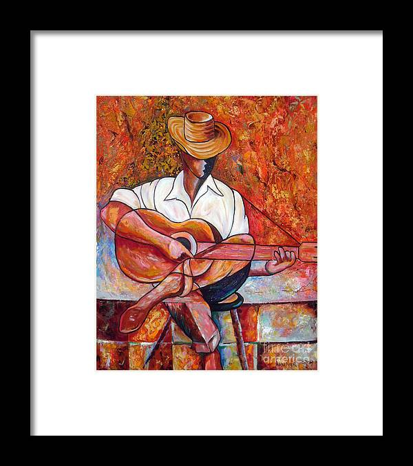 Cuba Art Framed Print featuring the painting My Guitar by Jose Manuel Abraham