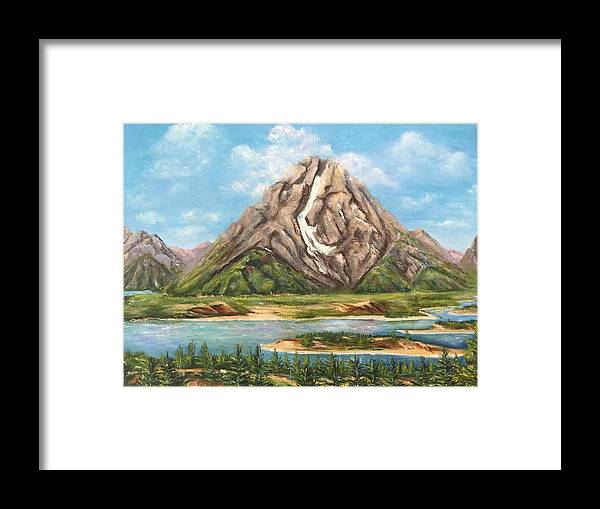 Landscape Framed Print featuring the painting My Head Is In The Clouds by Pat Hutchens