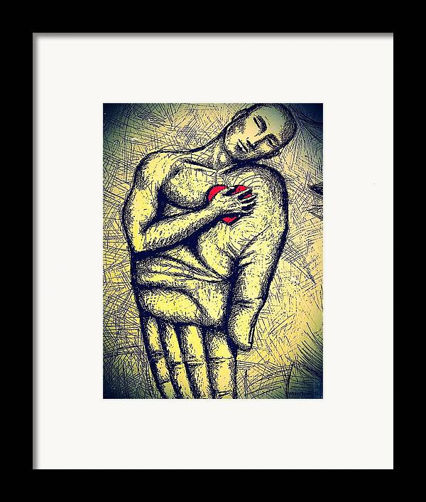 My Heart In Your Hand Framed Print featuring the digital art My Heart In Your Hand by Paulo Zerbato