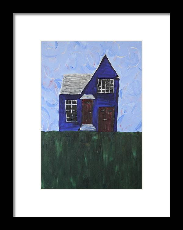 Blue Framed Print featuring the painting My House by Tracy Fetter