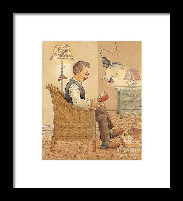 Lamp Room Flat Rest Relax Reading Book Doog Framed Print featuring the painting My Lamp by Kestutis Kasparavicius