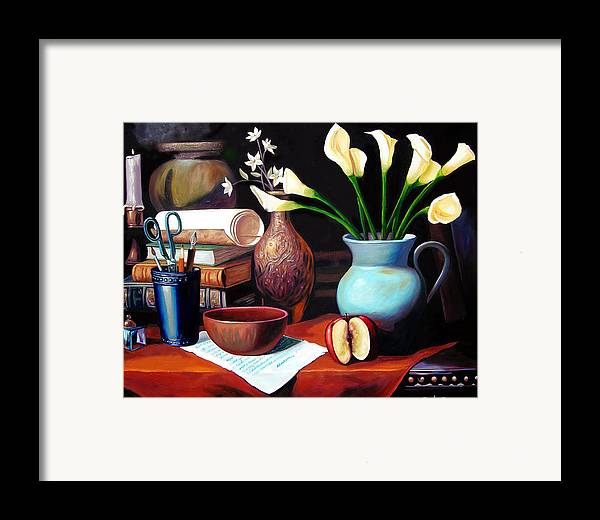 Framed Print featuring the painting My Letter by Jose Manuel Abraham