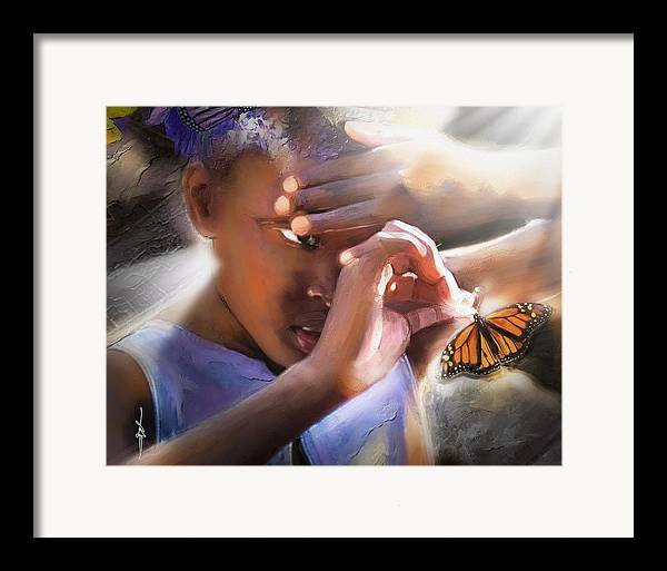 Butterfly Framed Print featuring the painting My Little Butterfly by Bob Salo