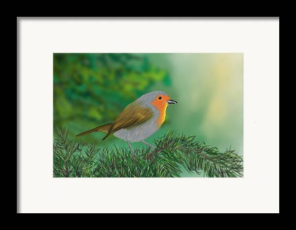 Birds Framed Print featuring the painting My Little Chickadee by Harry Dusenberg