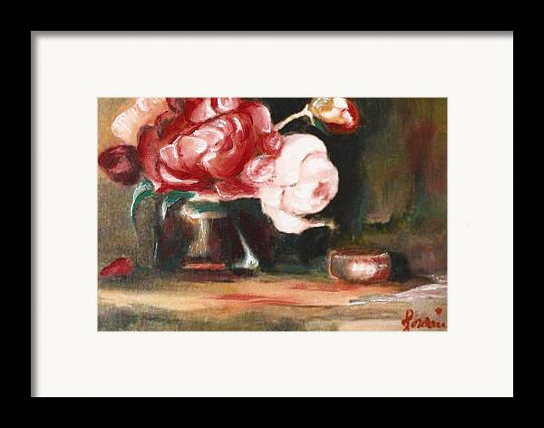Flower Still Life Artwork Roses Framed Print featuring the painting My Little Flowers by Jordana Sands