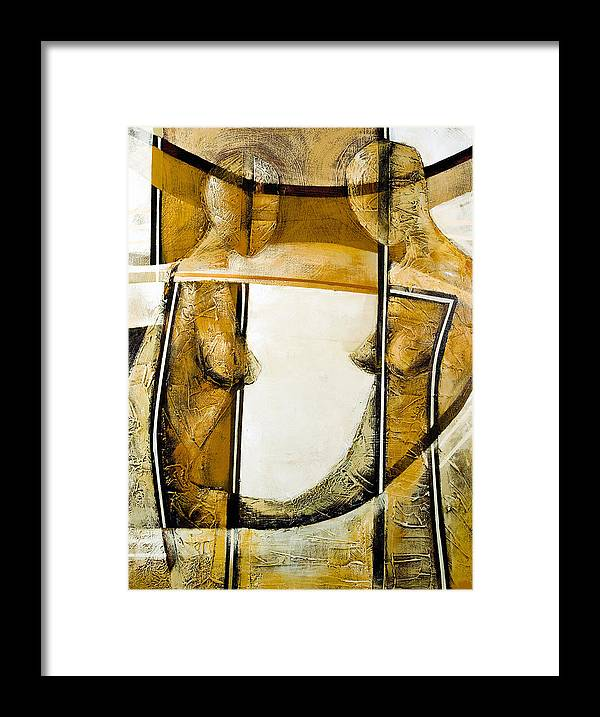 Figurative Abstract Framed Print featuring the painting My Mirror 2 by Milda Aleknaite